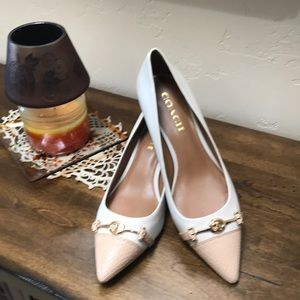 Coach kitten heal off white and camel pumps